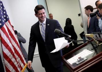 Speaker of the House Paul Ryan arrives for a press conference at the U.S. Capitol this morning.