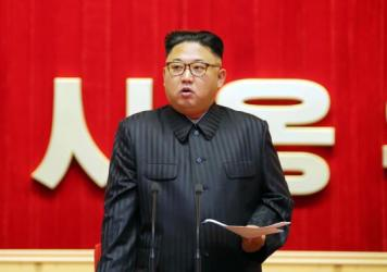 This undated picture released from North Korea's official Korean Central News Agency on Aug. 4 shows North Korean leader Kim Jong Un delivering a speech at the April 25 House of Culture in Pyongyang.