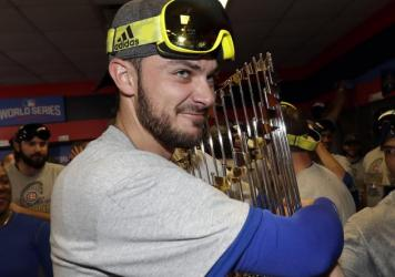 The Chicago Cubs' Kris Bryant celebrating with his teammates after they won the World Series against the Cleveland Indians. The Baseball Writers' Association of America named him the National League Most Valuable Player for 2016.