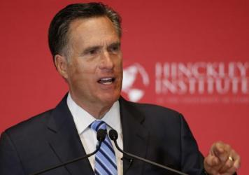 Former Massachusetts Gov. Mitt Romney argues against Donald Trump's nomination as the GOP presidential candidate on March 3 in Salt Lake City, Utah.