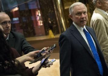 Alabama Sen. Jeff Sessions at Trump Tower in New York City on Thursday. Many in the multibillion-dollar marijuana industry fear what his nomination for attorney general would spell for business.
