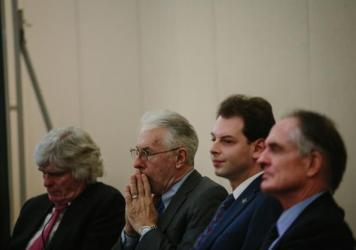 Speakers taking questions from the press included alt-right supporters (left to right) Peter Brimelow, Kevin MacDonald, Jason Jorjani, and Jared Taylor.