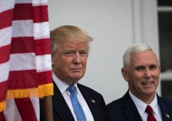 President-elect Donald Trump and vice president-elect Mike Pence at Trump International Golf Club in Bedminster Township, New Jersey.