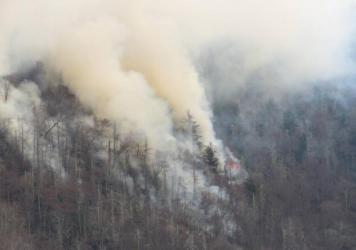 Smoke rises from wildfires in the Great Smoky Mountains near Gatlinburg, Tenn., on Tuesday.
