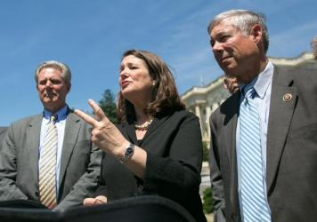 Rep. Diana DeGette, D-Colo., and Rep. Fred Upton (right), R-Mich., who have spearheaded the 21st Century Cures Act, speak after a 2015 House of Representatives vote in its favor.