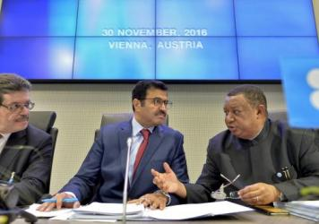 Mohamed Hamel (from left), the chairman of the OPEC Board of Governors; Mohammed Bin Saleh al-Sada, president of the OPEC conference; and OPEC Secretary General Mohammed Barkindo at a meeting of OPEC in Vienna on Wednesday.