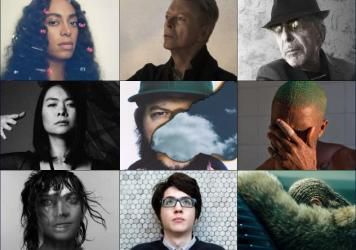 Top row, left to right: Solange, David Bowie, Leonard Cohen; Middle row, left to right: Mitski, Bon Iver, Frank Ocean; Bottom row, left to right: Anohni, Car Seat Headrest, Beyoncé.