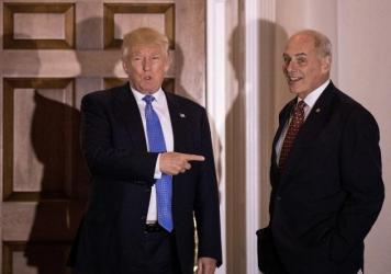 U.S. Marine Corps General John Kelly (r) has been taped by President-elect Donald Trump to lead the Department of Homeland Security. The two are shown here before their meeting at Trump International Golf Club, last month in Bedminster Township, New Jersey.
