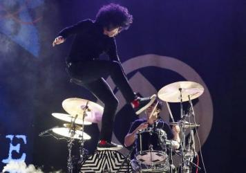 Cedric Bixler-Zavala of At the Drive-In performs in Byron Bay, Australia.