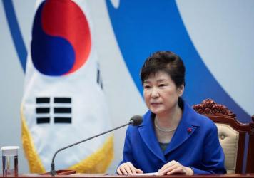 South Korea's President Park Geun-Hye attends an emergency Cabinet meeting on Friday in Seoul.
