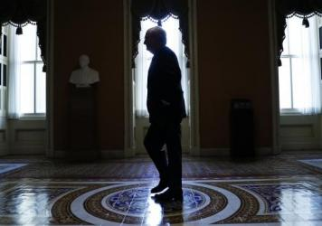 Senate Majority Leader Mitch McConnell of Kentucky heads to his office from the Senate floor last month.