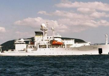 The unmanned underwater vehicle, or UUV, was deployed by the oceanographic survey ship USNS Bowditch (seen here in a U.S. Navy file photo). It was seized by a Chinese warship last week and returned to a U.S. warship Tuesday.