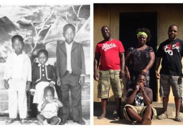The author, far right in both photos, and some of his siblings in 1980 and in 2015.