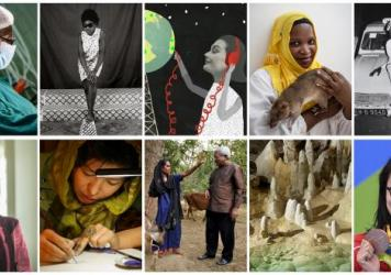 Clockwise from upper left: Dr. Forster Amponsah; a Malick Sidbe photo taken in Mali; a global garden of radio; Chewa the TB-sniffing rat; another Sidbe photo; activist Loyce Maturu; calligrapher Sughra Hussainy; poverty fighter Sir Fazle Hasan Abed; the