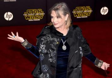 Carrie Fisher attends the premiere of Walt Disney Pictures and Lucasfilm's <em>Star Wars: The Force Awakens</em> in December 2015 in Hollywood, Calif.