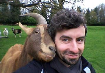Researcher Christian Nawroth with Vern, who lives at the Buttercups Sanctuary for Goats in Kent, England. He thinks Vern was looking to be scratched.