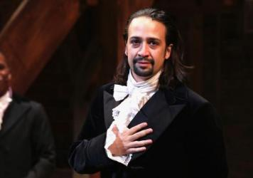 "Lin-Manuel Miranda performs on <em>Hamilton</em>'s opening night in August 2015. ""It was an enormous challenge to do that show every night,"" he says."