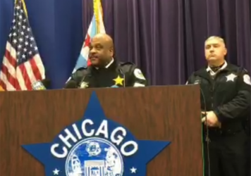 "A screenshot shows the Chicago Police Department's Wednesday news conference, where Police Superintendent Eddie Johnson (left) discussed a violent attack that was live-streamed on Facebook. Johnson called the assault ""sickening."""