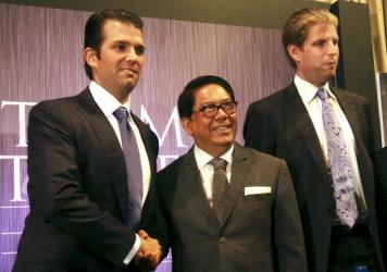 Donald Trump appeared with business partner Setya Novanto, then speaker of the House of Representatives of Indonesia, at Trump Tower in New York in September 2015. Novanto resigned from his political post in December 2015 after corruption accusations.
