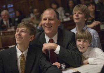 Former Georgia Rep. Mike Dudgeon casts the ceremonial first vote of the new session of the Georgia House of Representatives on Jan. 10, 2011, in Atlanta. Dudgeon retired from the legislature in 2016 because of work-life balance issues.