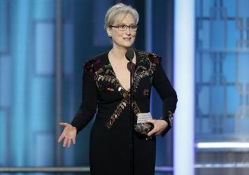 This image released by NBC shows Meryl Streep accepting the Cecil B. deMille Award at the 74th Annual Golden Globe Awards at the Beverly Hilton Hotel in Beverly Hills, Calif.