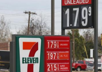 Gas prices are shown on a sign at a 7-11 in Oklahoma City last month. Amid a state budget slump, Oklahoma lawmakers are considering raising gas taxes for the first time in 30 years.