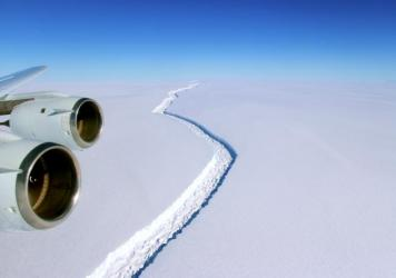 A NASA scientist with project IceBridge took this photo of the crack in November.