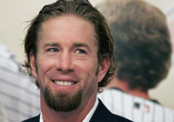 Houston Astros longtime first baseman and four-time All-Star Jeff Bagwell is pictured announcing his retirement from baseball in 2006. Bagwell was elected to the Hall of Fame Wednesday.