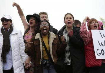 Demonstrators protest during the Women's March on Washington in D.C.
