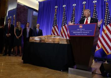 President-elect Donald Trump promised to give up legal control of his companies at his Jan. 11th press conference. Next to him was a stack of documents he said would sever his business ties.