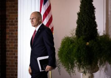 Andrew Puzder, chief executive of CKE Restaurants, exits after his meeting with President-elect Donald Trump at Trump International Golf Club in Bedminster, N.J., last year.