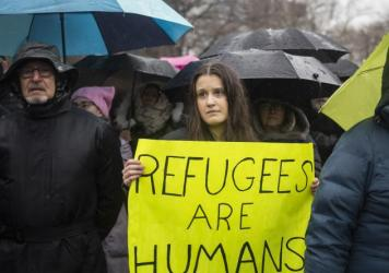 The Hebrew Immigrant Aid Society or HIAS, a Jewish group that supports refugee resettlement, held a rally against President Trump's immigration ban on Feb. 12 in New York City. The group worries that giving governors the power to veto arrivals — someth