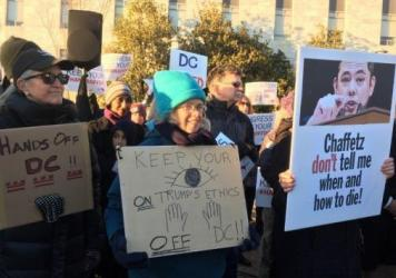 Protesters in favor of Washington, D.C's assisted suicide law outside of congressional office buildings on Feb. 13, 2017.