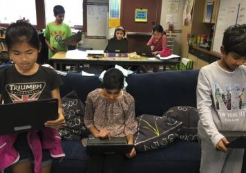"Students in Scott Bedley's fifth-grade class at Plaza Vista School in Irvine, Calif., play a version of ""Simon Says"" with fake news."