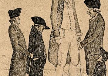An 18th-century etching by artist John Kay depicts the extra tall Charles Byrne, the extra short George Cranstoun, and three contemporaries of more conventional height. Byrne made his living as a professional spectacle, and died at age 22 in 1783.