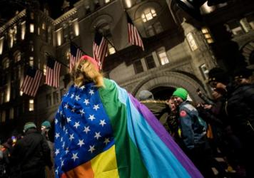Protestors and LGBT activists rally outside of Trump International Hotel, this month in Washington, DC.