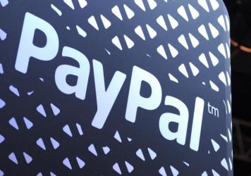 The logo of online payment company PayPal is pictured during an event in Saint-Denis, France, in December 2013.