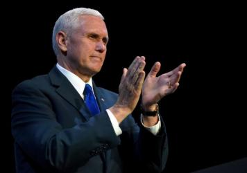 Vice President Mike Pence, seen here at a Feb. 24, speaking engagement in Las Vegas, was the highest-ranking administration official to attend the Gridiron Dinner on March 4.