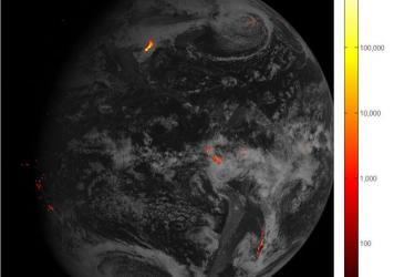 An image of Western Hemisphere lightning storms, captured Feb. 14 over the course of one hour. Brighter colors indicate more lightning energy was recorded (the key is in kilowatt-hours of total optical emissions from lightning.) The most powerful storm s