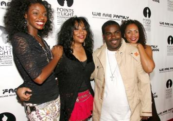 Joni Sledge, one of the original members of Sister Sledge, (second from left) posing with Rodney Jerkins (second from right), her niece Camille Sledge (left) and her cousin Amber Sledge in 2006 in Century City, Calif.