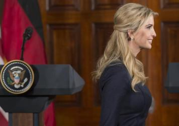 Ivanka Trump arrives for a joint news conference between President Trump and German Chancellor Angela Merkel in the East Room of the White House earlier this month. Ethics experts say that Ivanka Trump's dual role as a business owner and West Wing staffe