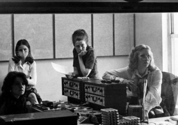 (From left) Renee Chaney, visitor Louisa Parker, Linda Wertheimer and Kris Mortensen, in the first <em>All Things Considered</em> studio in 1972.