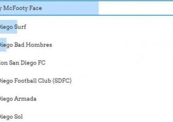 Footy McFooty Face leads an online vote to name an MLS expansion team, well ahead of San Diego Surf and San Diego Bad Hombres.