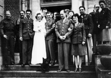 Gen. Dwight D. Eisenhower's driver, Elsie Hargrave, and Sgt. Michael McKeogh, his orderly, were married at Versailles during World War II. The Battle of the Bulge broke out the same day, so Eisenhower had to leave the reception early.