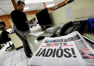 <em></em>The newspaper <em>Norte</em> announced its closure in bold letters, with a front-page letter from its owner explaining that the violence against journalists in Juarez and elsewhere in Mexico made the paper's continued existence untenable.