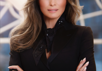 Melania Trump, in the White House residence, in her first official portrait as first lady.