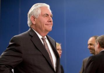 U.S. Secretary of State Rex Tillerson waits for the start of a meeting last month at NATO headquarters in Brussels. Tillerson is scheduled to travel to Russia on Tuesday, in what promises to be a difficult round of talks after the U.S. missile strike in
