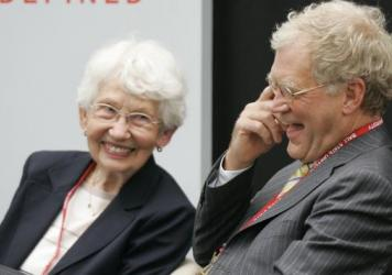 David Letterman, right, the host of <em>The Late Show with David Letterman</em> on CBS, and his mother Dorothy Mengering share a laugh during the dedication of the $21 million David Letterman Communication and Media Building on the campus in Muncie, Ind., in 2007.