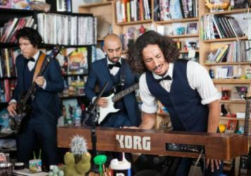 Chicano Batman performs at Tiny Desk Concert on March 30th 2017. (Marian Carrasquero/NPR)