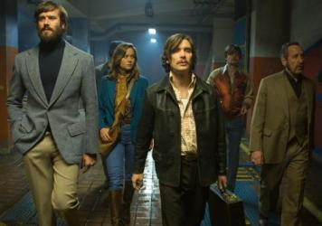Polyester Posse: Ord (Armie Hammer), Justine (Brie Larson), Chris (Cillian Murphy), Stevo (Sam Riley) and Frank (Michael Smiley) walk the walk.